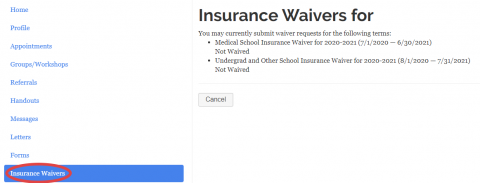 "MyHealthConnect home page with ""Insurance Waivers"" circled on the left-hand navigation."